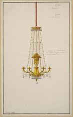 [Chandelier project]  Designation - designation:  Drawing  Designation - title of the set:  [Plates of objects of use and taste]  Inventory number :  CD 5500  Creation:  Anonymous ; France , 19th century Access the file  Materials and techniques:  pen, black ink, gray wash, gouache  Measures :  H. cm: 41 - l. cm: 25.5  Indexation:  chandelier  Acquisition / deposit:  Photography :  © Photo Les Arts Décoratifs, Paris All rights reserved.