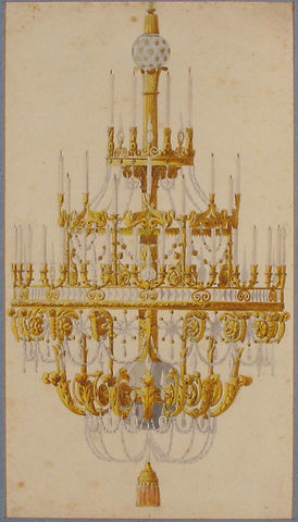 Title: Design for Chandelier Artist:Anonymous, French, 18th century Former Attribution: Formerly attributed to Charles Percier (French, Paris 1764–1838 Paris) Date:18th century Medium:Pen and gray ink, brush and gray wash, watercolor Dimensions: 11 7/16 x 7 5/8 in. (29 x 19.4 cm) Classification: Drawings Credit Line: The Elisha Whittelsey Collection, The Elisha Whittelsey Fund, 1968 Accession Number: 68.730.2
