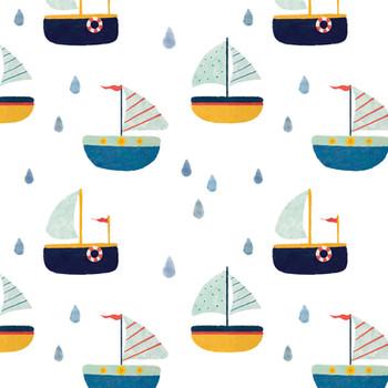 Gouache Boats Seamless Pattern