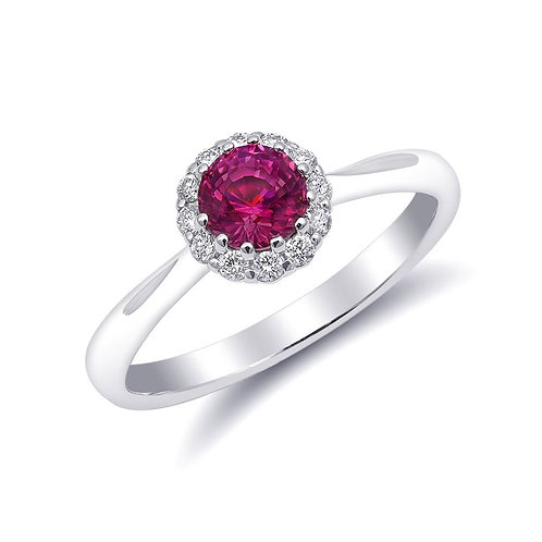 14k White Gold 0.67ct TGW Pink Sapphire and White Diamond Halo Ring