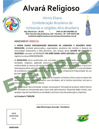 Alvará Confederação Brasileira Hirma Eliana