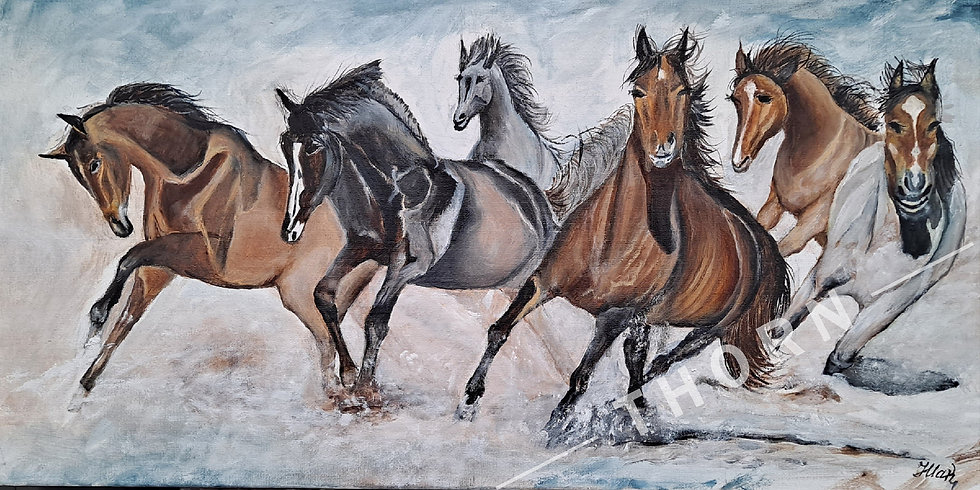 Horses On the Beach by Inna Makarichev
