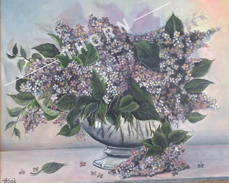 Lilacs in Vase by Inna Makarichev