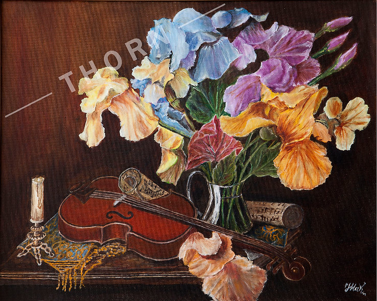 Viola and Flowers by Inna Makarichev