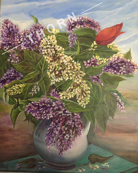 Lilacs In Vase With Red Flower by Inna Makarichev