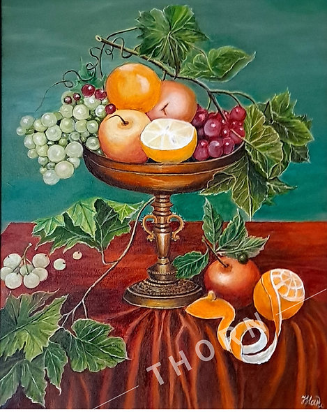 Vase with Apple & Grapes by Inna Makarichev