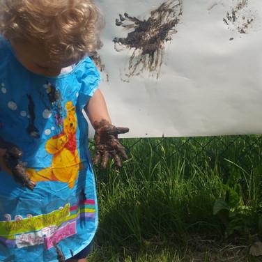 pittura con fango