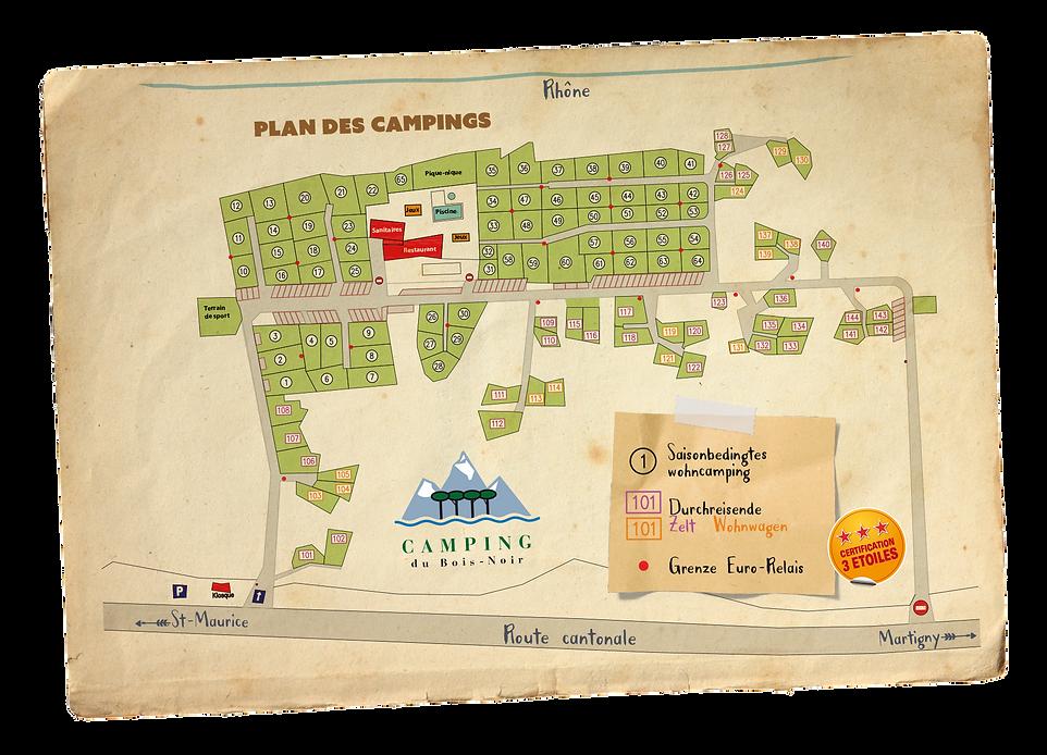 Karte der Campingplätze