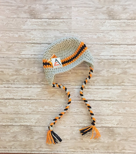 Allis-Chalmers Inspired Crocheted Earflap Hat