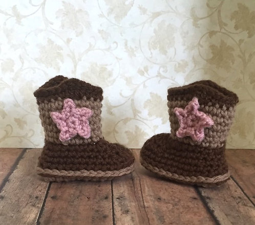 Crochet Baby Cowboy Cowgirl Boots Booties