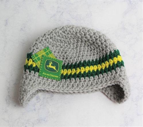 Crocheted John Deere Inspired Tractor Earflap Hat