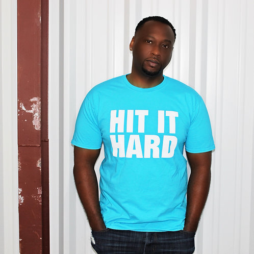 Hit It Hard Short Sleeve Unisex Tee - Caribbean Blue