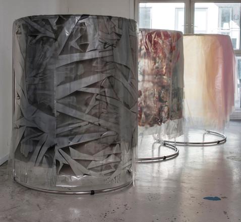 3x_Tranciennt, 2015, Acrylic, Plastic, Plexi, Magnet, Shop Rack, 150 x 100 x 75 cm