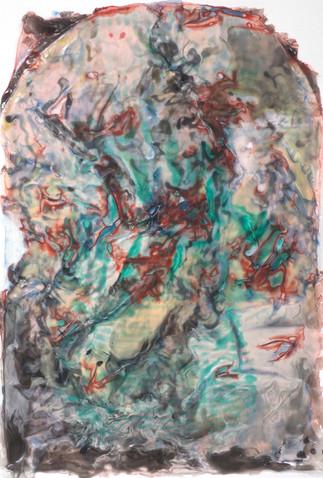 Inferno, 2014,  Acrylic in Medium, 40 x 32 cm