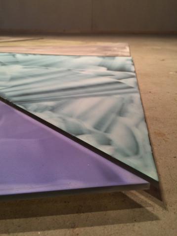 Utsnitt, Uten tittel (7 x 3kanter), 2016, Acrylic on plexi, 120 x 120 cm