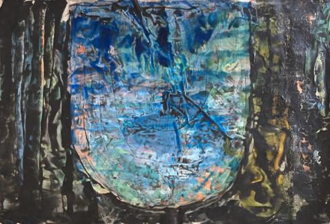 Under Ligger Byen, 2019, Acrylic, canvas, 44 x 60 cm