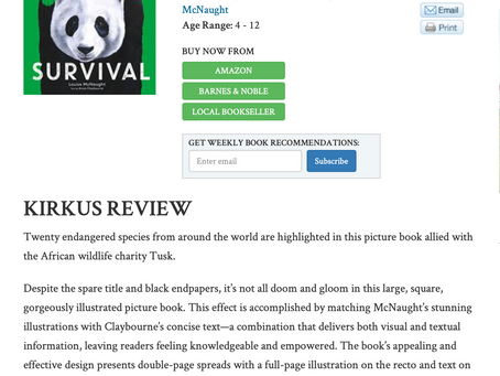 Starred review in Kirkus for release of my Book 'Survival' in the U.S!