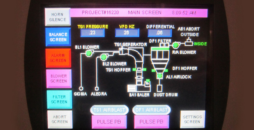 A touch screen control display