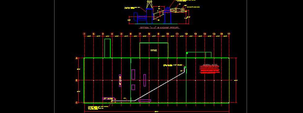 A folding carton trim collection system schematic