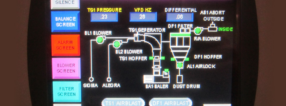 A touch screen interface on a trim collection system in a digital printing operation