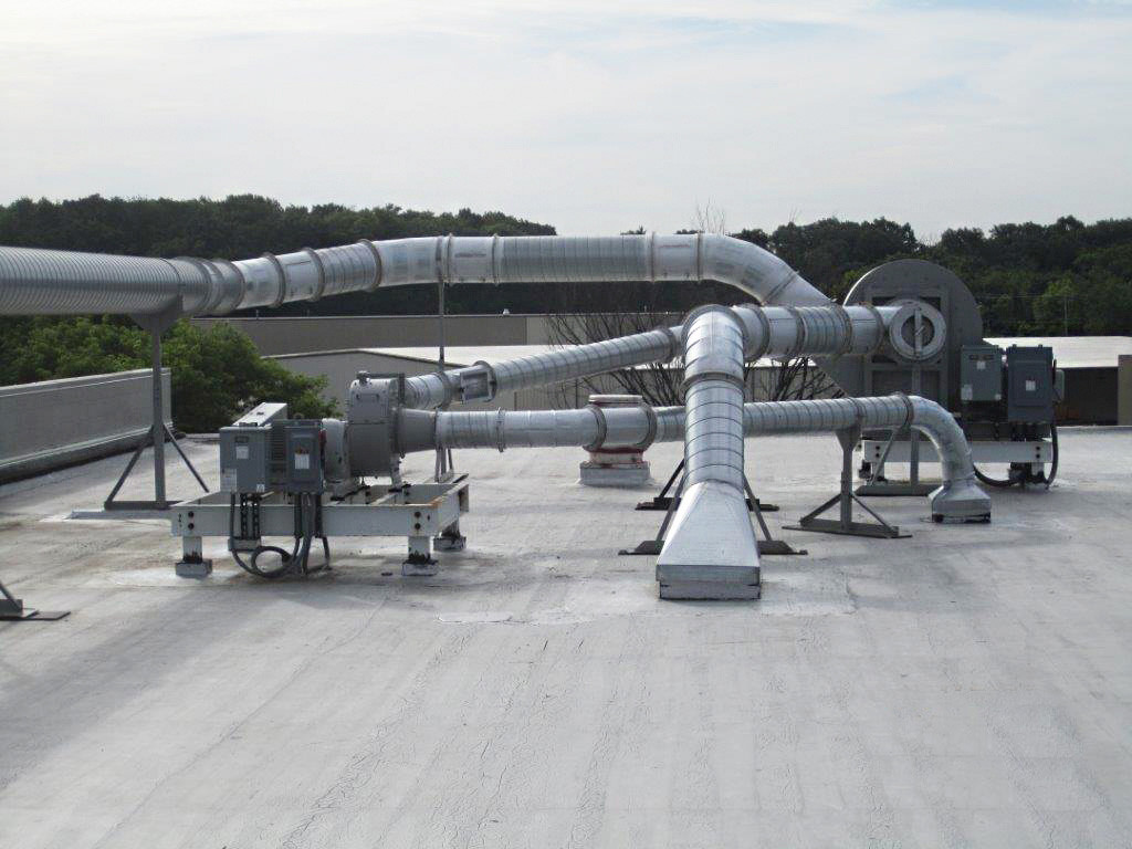 An example of above-roof blower mounting