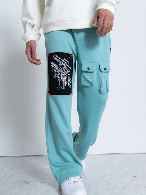 RIPD Art Wear Teal French Terry Wide Sweatpants