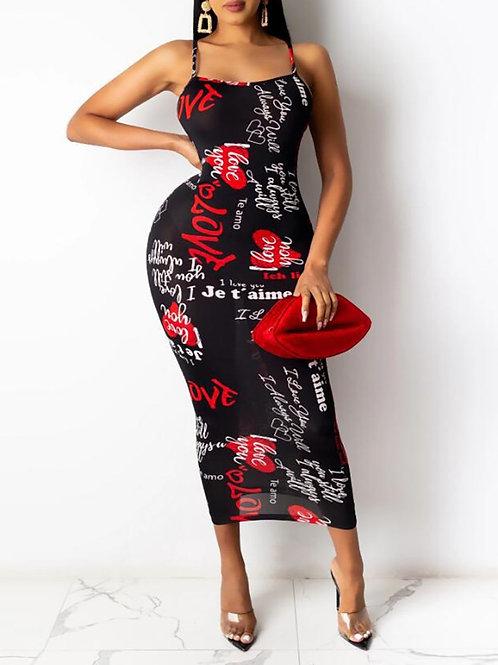 RIPD Art Wear Heart Print Crisscross Dress
