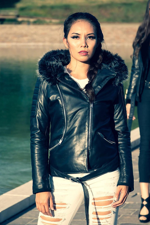 RIPD Art Wear Leather Jacket with Fur Hoodie