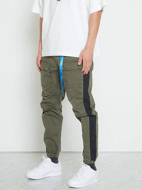 Woven Jogger with Tape in Khaki