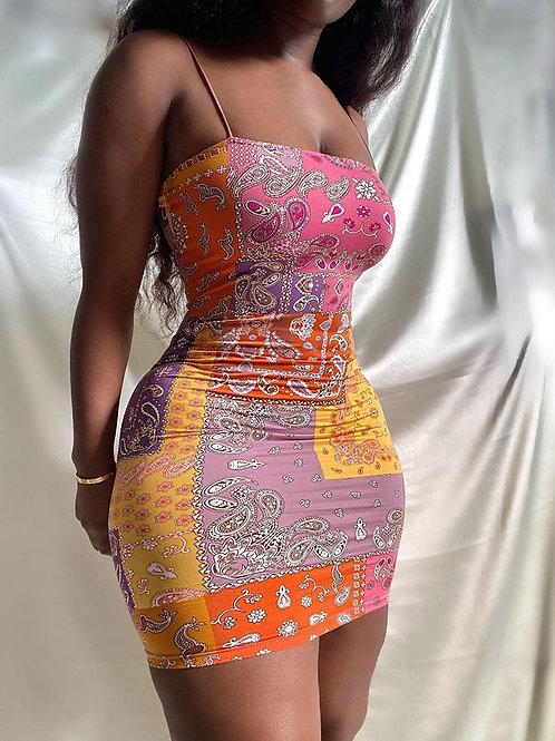 RIPD Art Wear Spaghetti Strap Bodycon Dress