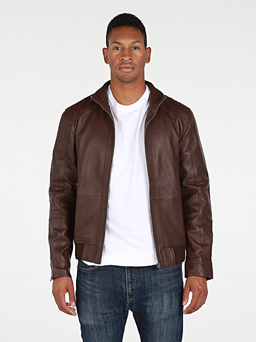 RIPD Art Wear Leather Bomber Jacket - Brown