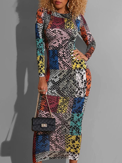 RIPD Art Wear Snakeskin Multicolor Dress