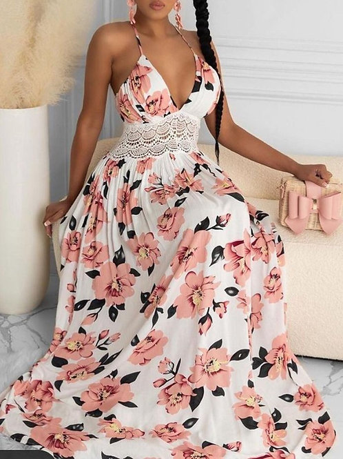 RIPD Art Wear Halter Floral Print Maxi Dress