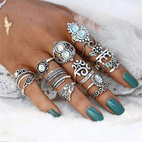 RIPD Art Wear Opal Ring Set