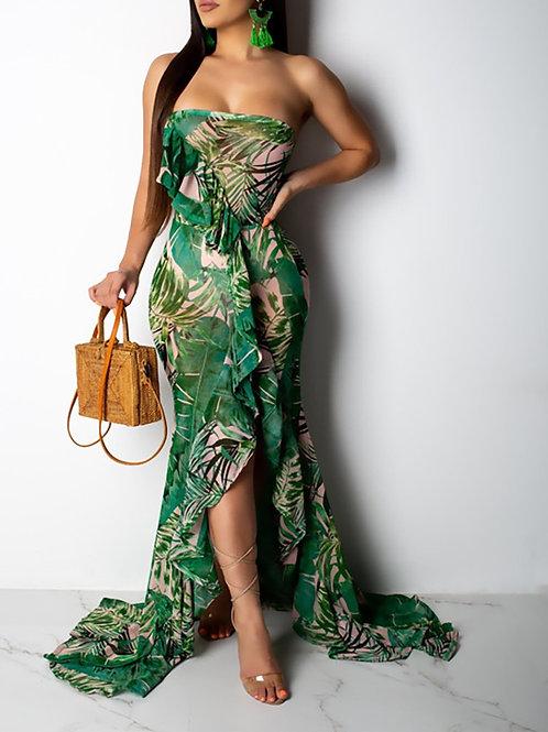 RIPD Art Wear Ruffled Leaf Printed Dress