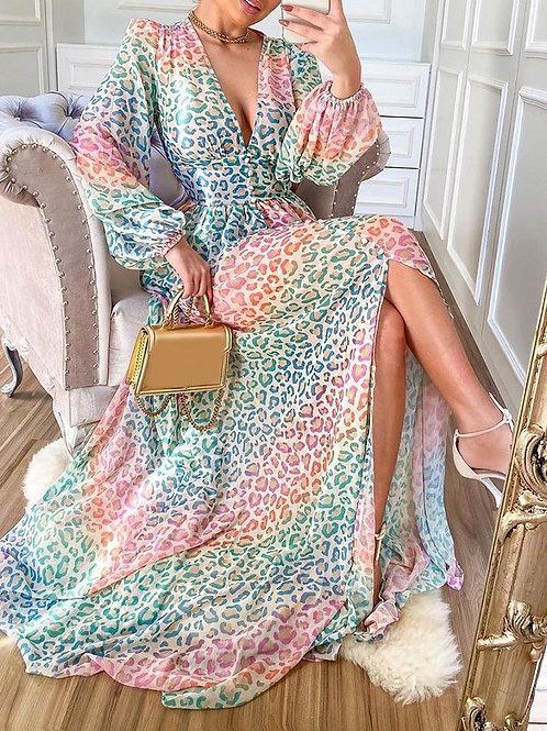 RIPD Art Wear ColorBlock Cheetah Print Dress