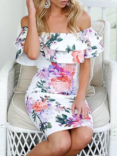 RIPD Art Wear Off Shoulder Floral Print Dress