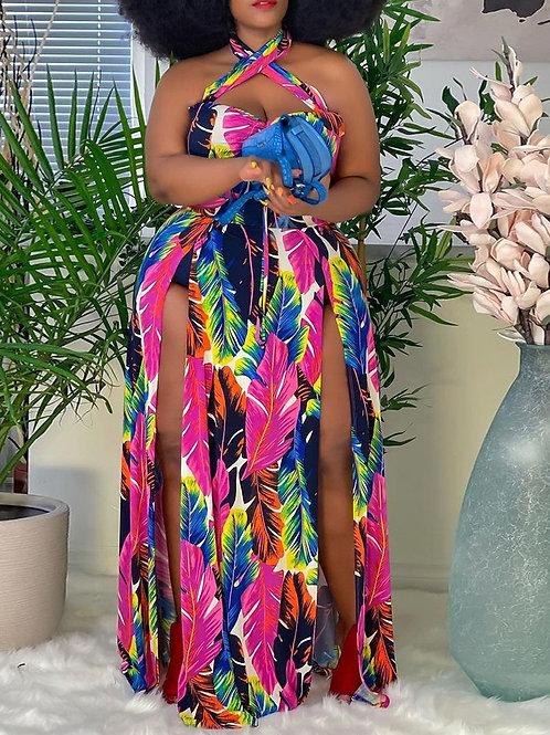 RIPD Art Wear | Feather Print Maxi Dress Plus