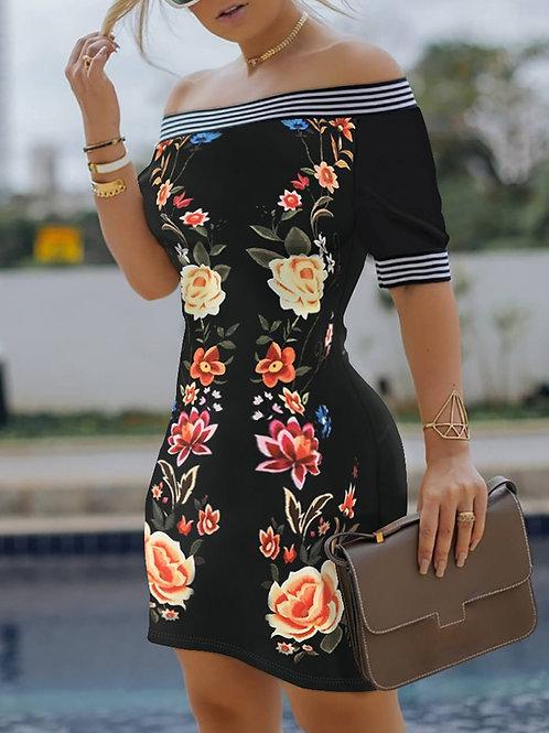 RIPD Art Wear Off Shoulder Floral Dress