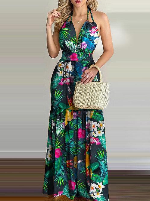 RIPD Art Wear | Halter Tropical Print Maxi Dress