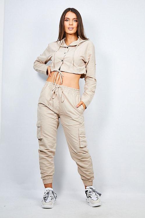 RIPD Art Wear Beige Crop Shirt & Cargo Trouser Lounge Set