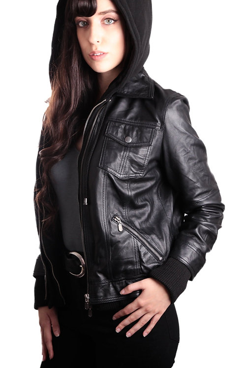 RIPD Art Wear Hooded Bomber Womens Leather Jacket