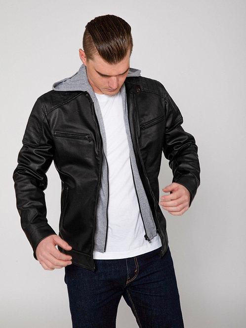 RIPD Art Wear Hooded Faux Leather Moto Jacket