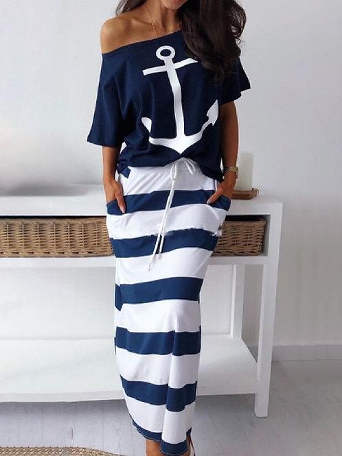 RIPD Art Wear | Boat Anchor Stripe Skirt Set