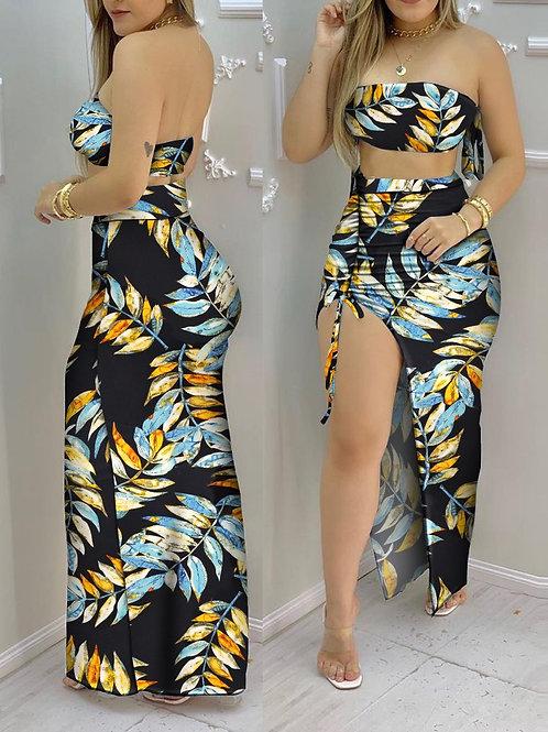RIPD Art Wear Tropical Print Bandeau Set