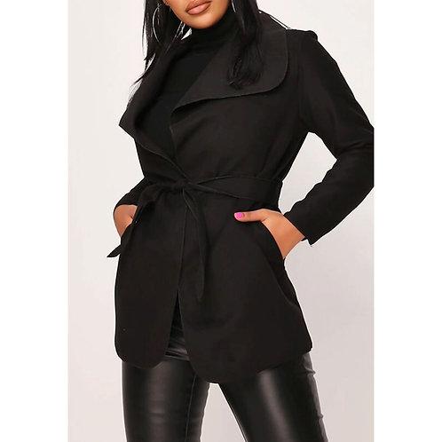 RIPD Art Wear Black Cropped Waterfall Coat