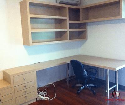 Κατασκευή γραφείο-κομοδίνο με βιβλιοθήκη και συρτάρια
