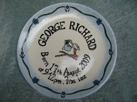Personalised Earthenware Christening Plate - Boy