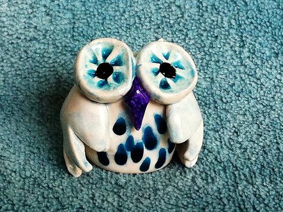 White & Aqua Owl with Purple Beak