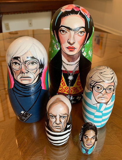 ART ICON RUSSIAN NESTING DOLL SET BY GINGER WILLIAMS COOK